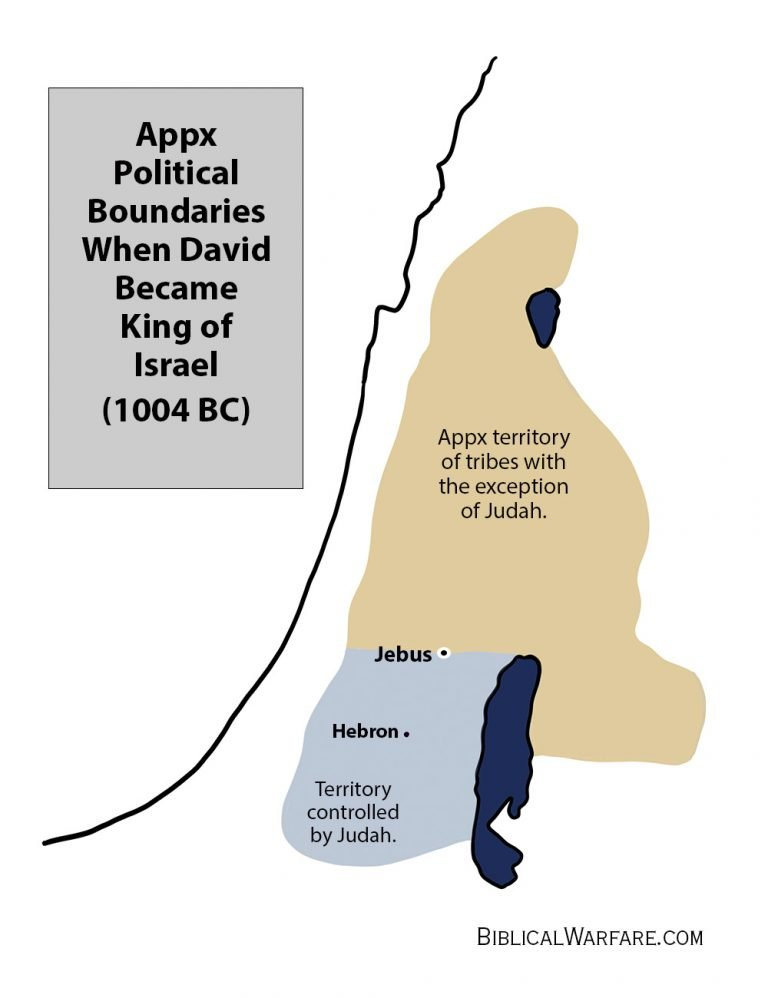 Map of Political boundaries of Israel at the time of Davids conquest of Jebus, City of David
