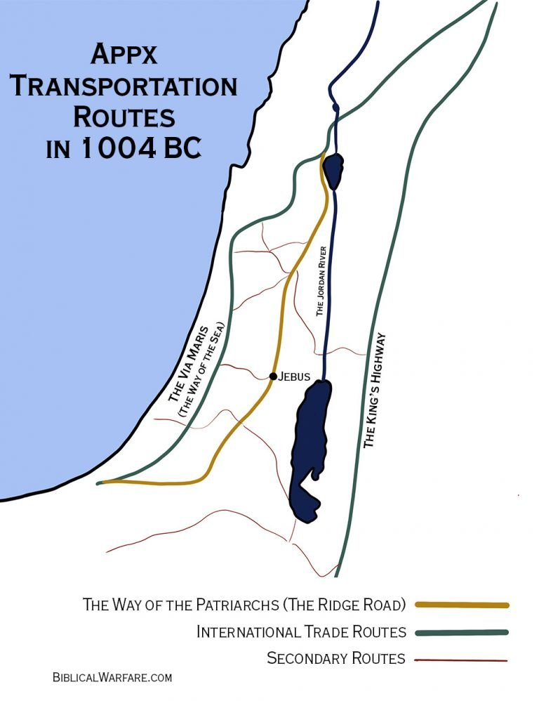 map of trade/ transportation routes during David conquest of Jerusalem 1004bc