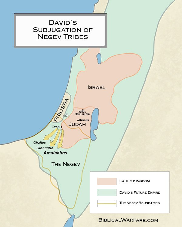 Map of King David's defeat of the Amalekites and Negev Tribes
